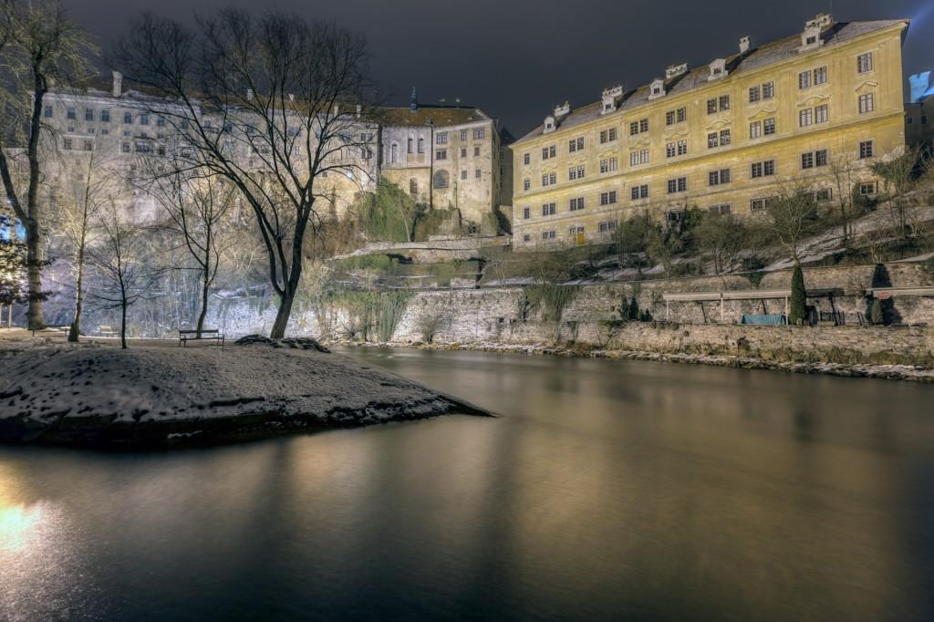 Чешский Крумлов ночью. Замок Крумлова