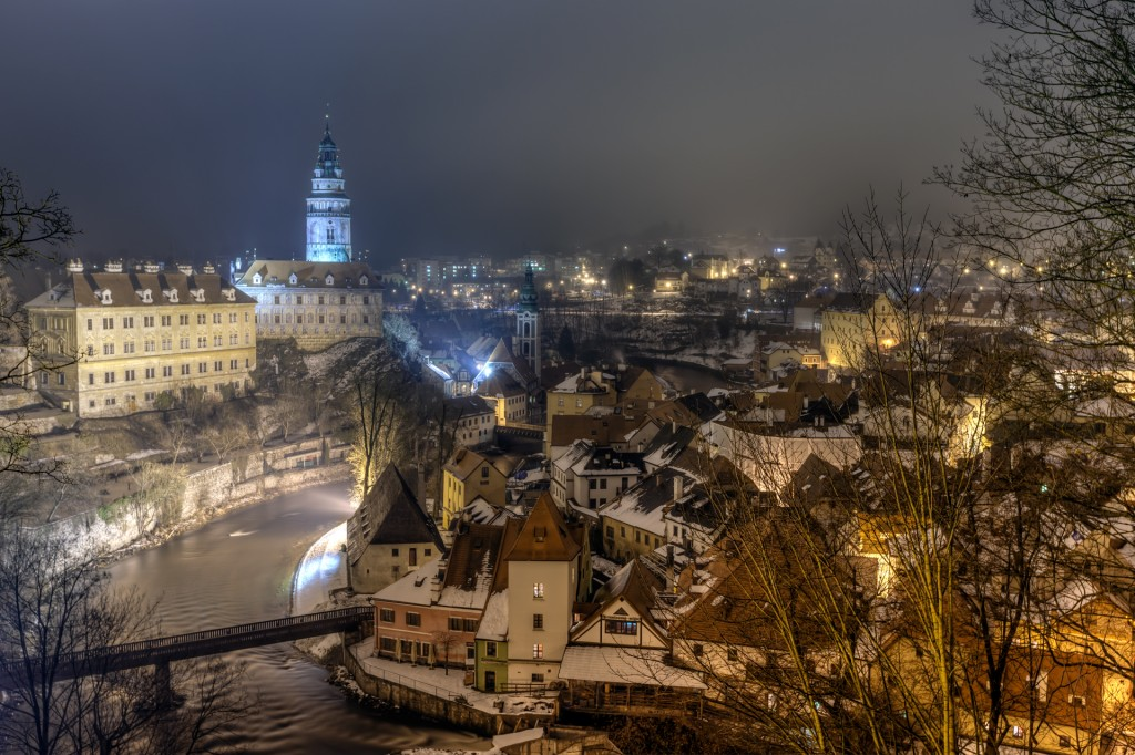 Чешский Крумлов ночью